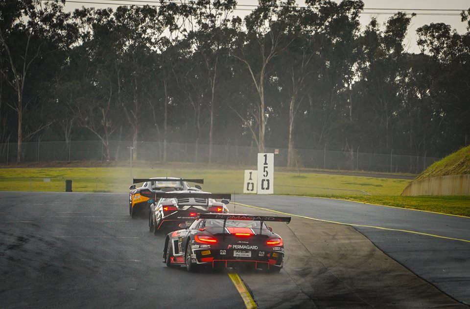 Glen Wood chasing eventual 2nd place getting Klark Quinn in McLaren 650S GT3 and leading Max Twigg in Mercedes SLS AMG GT3 (Pic Aus GT)